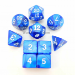 KOP10076 Navy Pearlized Dice With White Numbers Set 10pc Dice