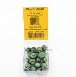 WONGM112 Black with Green Swirl 16mm Glass Marbles Pack of 20