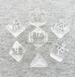 CHX23001 Clear Translucent Dice Set of 7 with White Numbers 16mm