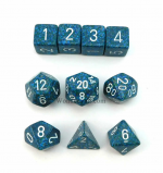 KOP09986 Sea Elemental Dice With White Numbers Set 10pc Dice