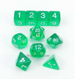 KOP09950 Green Transparent Dice With White Numbers Set 10pc Dice