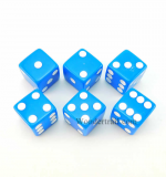 KOP10760 Blue Opaque Dice D6 16mm Set of 6 by Koplow