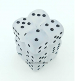 CHX27601 Clear Frosted Dice With Black Pips D6 16mm (5/8in) Dice Chessex