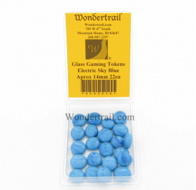 WON0058 Electric Sky Blue Gaming Counter Tokens Aprox 14mm Pack of 22