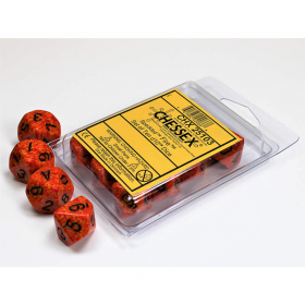 CHX25103 Fire Speckled D10 Dice Black Numbers 16mm Pack of 10