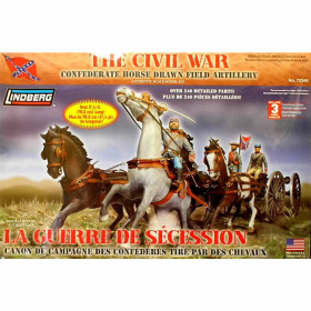 LIN70349 Civil War Confederate Horse-Drawn Field Artillery 1/16 Lindberg