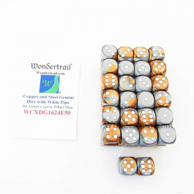 WCXDG1624E50 Copper Steel Gemini Dice White Pips D6 16mm Pack of 50