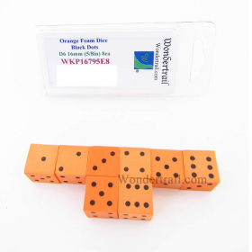 WKP16795E8 Orange Foam Dice with Black Dots D6 16mm (5/8in) Pack of 8