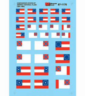 MSM87-1176 Confederate States of America National Flags (1861-1865) HO Scale Micro Scale Models