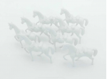 AME98517 White Plastic Horse Set 8Pc