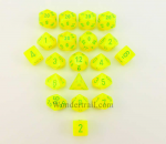 CHXLE881 Vortex Electric Yellow with Green Dice Set of 20 Chessex