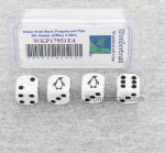 WKP17951E4 White Dice with Black Pinquin and Pips D6 16mm (5/8in) Set of 4