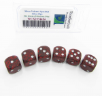 WCX25744E6 Silver Volcano Speckled Dice Silver Pips D6 16mm Pack of 6