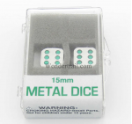 KOP18636 Metal Dice D6 Silver With Green Pips 15mm Set Of 2 Koplow Games