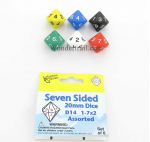 KOP18078 Assorted Color Dice D14 With Colored Numbers 1-7 Twice 20mm Pack Of Six Koplow Games