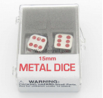 KOP18640 Metal Dice D6 Silver With Red Pips 15mm Set Of 2 Koplow Games