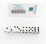 WKP18616E6 White Pastel Dice D6 with Black Pips 16mm (5/8in) Pack of 6