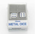 KOP18634 Metal Dice D6 Silver With Blue Pips 15mm Set Of 2 Koplow Games