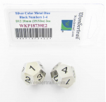 WKP18739E2 Metal Dice D12D4 Silver With Black Numbers 20mm Pack of 2