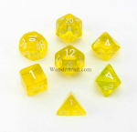 CHX23002 Yellow Translucent Dice 7pc Set White Numbers 16mm