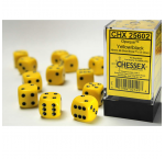 CHX25602 Yellow Opaque D6 Dice with Black Pips 16mm Pack of 12