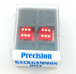KOP00012 Red Transparent D6 Precision Backgammon Dice White Pips 16mm
