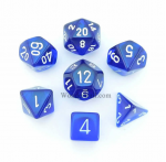 CHX23006 Blue Translucent Dice 7pc Set White Numbers 16mm