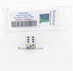 WKP13524E1 Metal Dice with Purple Pips D6 15mm (3/5in) Pack of 1