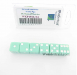 WKP18613E6 Green Pastel Dice D6 with White Pips 16mm (5/8in) Pack of 6