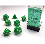 CHX25405 Green Opaque Dice With White Numbers 16mm Set of 7