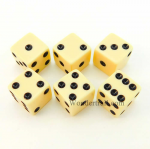 KOP11040 Ivory Opaque Dice D6 16mm Set of 6 by Koplow