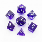 CHX23007 Purple Translucent Dice Set of 7 with White Numbers 16mm