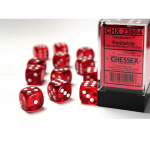 CHX23604 Red Translucent D6 Dice White Pips 16mm Pack of 12