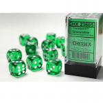 CHX23605 Green Translucent D6 Dice White Pips 16mm Pack of 12