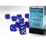 CHX23606 Blue Translucent D6 Dice White Pips 16mm Pack of 12
