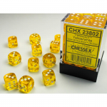 CHX23802 Yellow Translucent D6 Dice White Pips 12mm Pack of 36