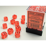 CHX23803 Orange Translucent D6 Dice White Pips 12mm Pack of 36