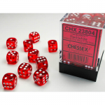 CHX23804 Red Translucent D6 Dice White Pips 12mm Pack of 36
