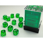 CHX23805 Green Translucent D6 Dice White Pips 12mm Pack of 36