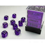 CHX23807 Purple Translucent D6 Dice White Pips 12mm Pack of 36