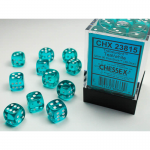 CHX23815 Teal Translucent D6 Dice White Pips 12mm Pack of 36