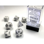 CHX25311 Arctic Speckled Dice Black Numbers 16mm Set of 7