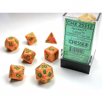 CHX25312 Lotus Speckled Dice Green Numbers 16mm Set of 7