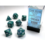 CHX25316 Sea Speckled Dice with White Numbers 16mm (5/8in) Set of 7