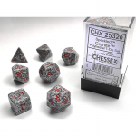 CHX25320 Granite Speckled Dice Red Numbers 16mm Set of 7