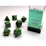 CHX25335 Golden Recon Speckled Dice Gold Numbers 16mm Set of 7