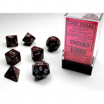 CHX25344 Silver Volcan Speckled Dice Silver Numbers 16mm Set of 7