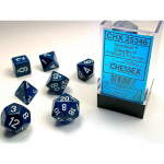 CHX25346 Stelth Speckled Dice White Numbers 16mm Set of 7