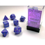 CHX25347 Silver Tetra Speckled Dice Silver Numbers 16mm Set of 7