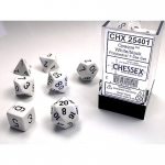CHX25401 White Opaque Dice with Black Numbers 16mm (5/8in) Set of 7